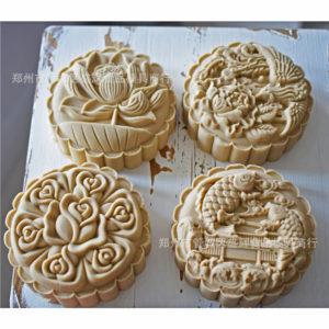 Khuôn Trung Thu lò xo 4 mặt 125g - 150g hoa hồng, cá, hoa sen