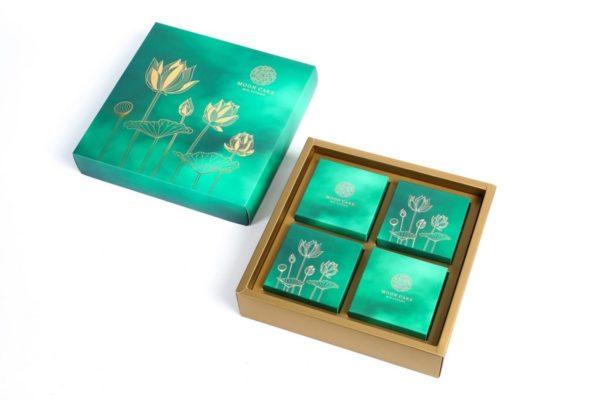 Bộ túi & hộp giấy đựng 4 bánh trung thu 100-150g có hộp con đáy nhũ mẫu sen ngọc