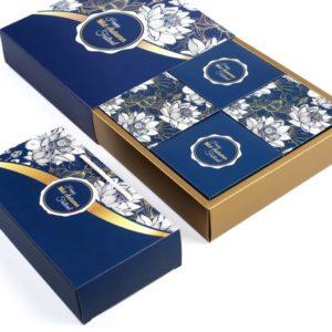 Bộ túi & hộp giấy đựng 4 bánh trung thu 125-250g có hộp con đáy nhũ mẫu sen xanh