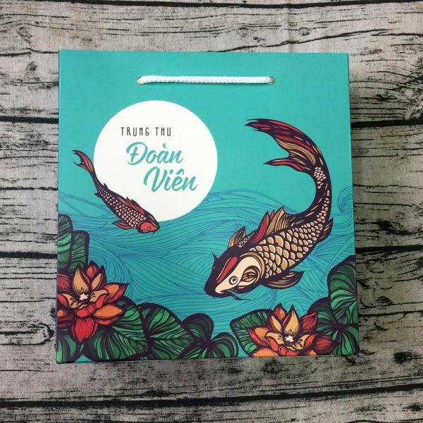 Bộ túi & hộp giấy đựng 4 bánh trung thu 125-250g mẫu cá xanh