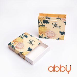 Bộ túi & hộp giấy đựng 4 bánh trung thu 125-250g mẫu cúc vàng có in chữ