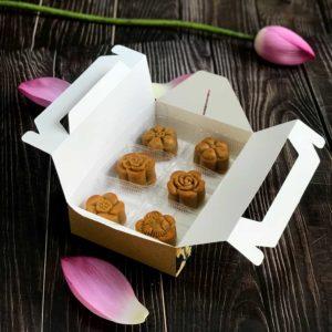 Hộp giấy đựng 6 bánh trung thu 50-75g mẫu cúc vàng