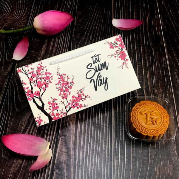 Hộp giấy đựng 2 bánh trung thu 125-250g mẫu đào hồng