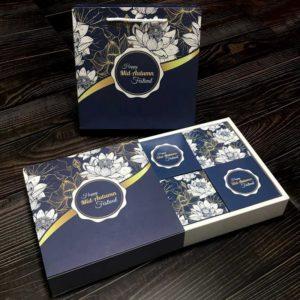 Bộ túi & hộp giấy đựng 4 bánh trung thu 125-250g có hộp con mẫu sen xanh