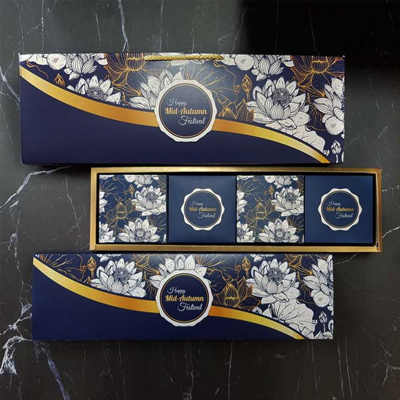 Bộ túi & hộp giấy đựng 4 bánh trung thu 125-250g dáng ngang có hộp con mẫu sen xanh
