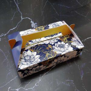 Hộp giấy đựng 6 bánh trung thu 50-75g mẫu sen xanh