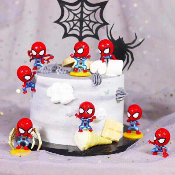 Bộ 8 tượng trang trí bánh Spiderman 5cm