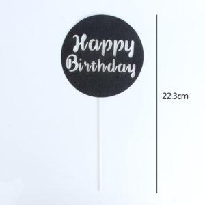 Chữ Happy Birthday tròn đen 22.3cm