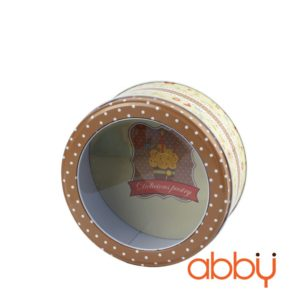 B4839 Hộp thiếc tròn mặt kính 17x8cm màu vàng Delicious