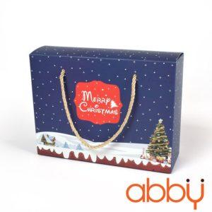 Túi giấy đựng quà Merry Christmas 22x16.5x7cm màu xanh