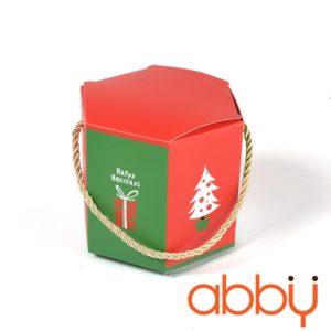 Túi bánh quy lục giác Noel 12x10cm màu đỏ