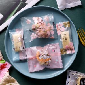 Túi đựng bánh quy hoa đào 10x7cm (10 chiếc)