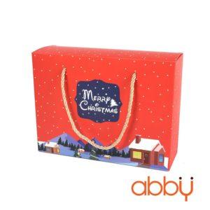 Túi giấy đựng quà Merry Christmas 22x16.5x7cm màu đỏ