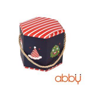 Túi bánh quy lục giác Noel 12x10cm màu xanh