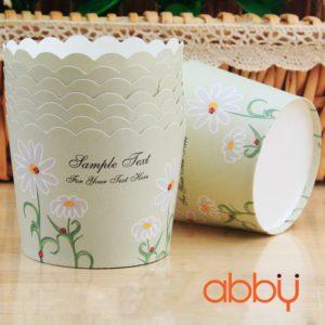 Cup giấy cứng 6x5cm mẫu hoa cúc tím (48 - 50 chiếc)