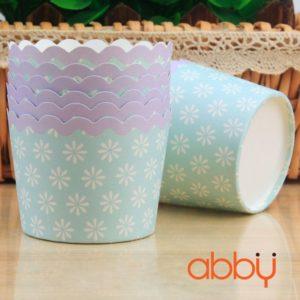 Cup giấy cứng 6x5cm mẫu viền tím (48 - 50 chiếc)