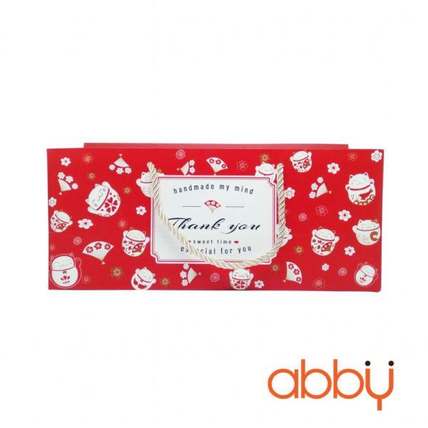 Bộ túi và hộp đựng bánh dứa Thank you màu đỏ 27x7x5cm