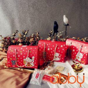 Túi đựng bánh quy có quai xách 20x10x13.5cm Mèo Thần Tài