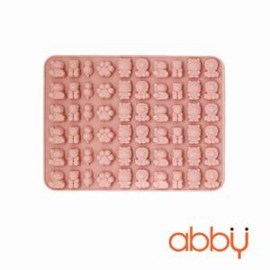 Khuôn kẹo chip chip silicon 60 viên hình sư tử, hà mã, gấu, mèo