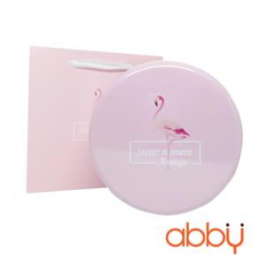 Hộp thiếc tròn 17x7.5cm màu hồng sweet moment (kèm túi)