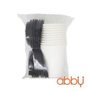 Bộ cốc giấy trắng và nắp cốc 8oz (10 chiếc)