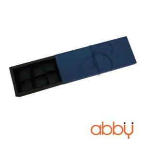 Hộp socola hình chữ nhật 12 viên màu xanh