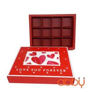 Hộp socola hình chữ nhật 12 viên Love You Forever