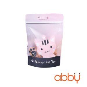 Túi zip in hình 23x15cm Mèo Thank you (5 chiếc)