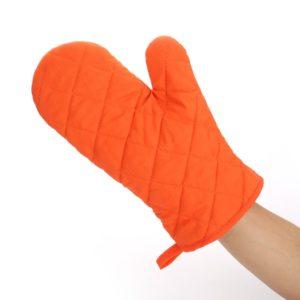 Găng tay chống nhiệt vải thô 28cm màu cam (70g)