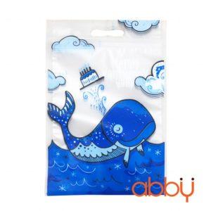 Túi zip in hình 23x15cm Cá heo xanh (5 chiếc)