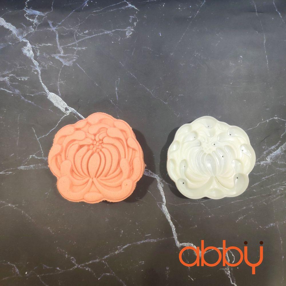 Khuôn Trung Thu lò xo 150g 1 mặt hoa cúc 3D