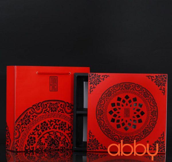Bộ túi & hộp giấy đựng 4 bánh trung thu 125-250g mẫu họa tiết đỏ