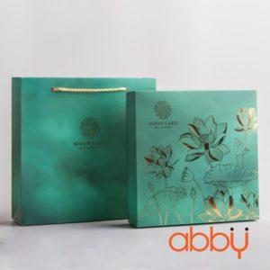 Bộ túi & hộp giấy 4 bánh trung thu 100-150g nhũ vàng mẫu sen ngọc