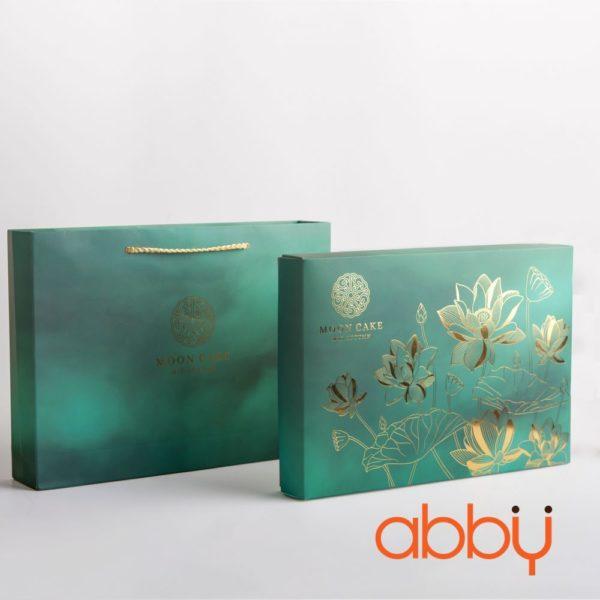 Bộ túi & hộp giấy 6 bánh trung thu 100-150g nhũ vàng mẫu sen ngọc
