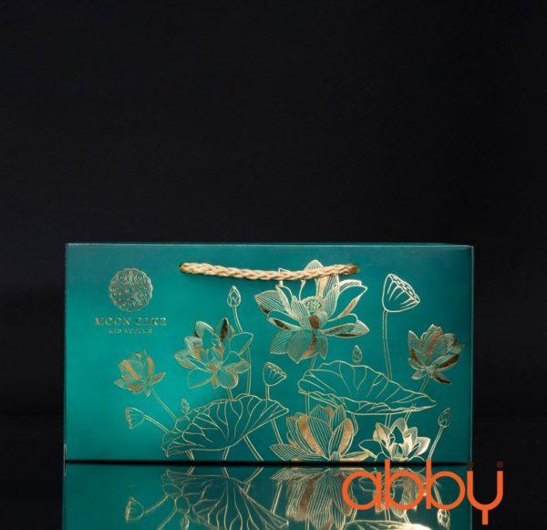 Hộp giấy 2 bánh trung thu 125-250g nhũ vàng mẫu sen ngọc