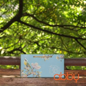 Hộp giấy 2 bánh trung thu 125-250g nhũ vàng mẫu chim xanh