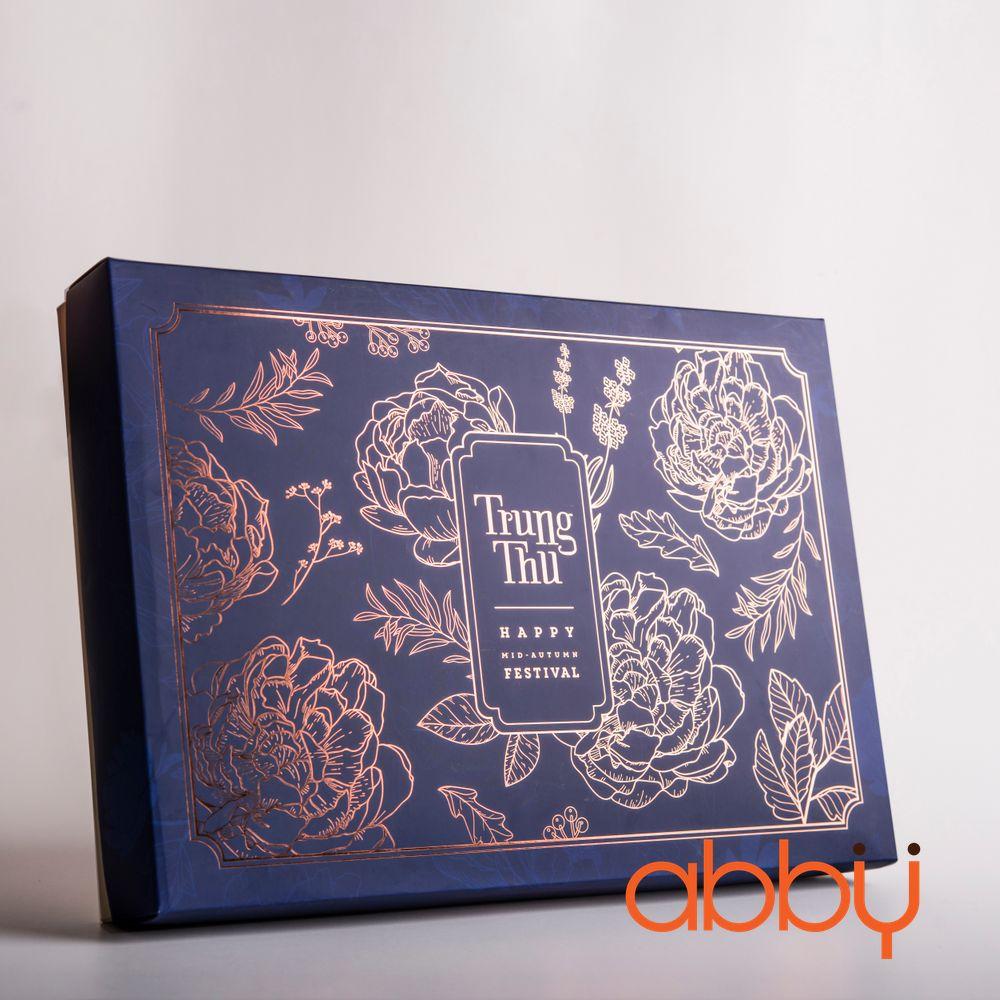 Bộ túi & hộp giấy 6 bánh trung thu 125-250g nhũ vàng mẫu hoa mẫu đơn