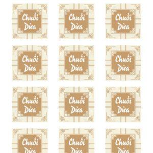 Tem nhân chuối dừa hình vuông (15 tem)