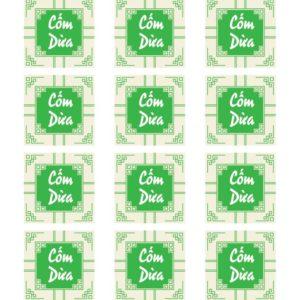 Tem nhân cốm dừa hình vuông (17 tem)