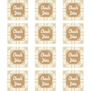 Tem nhân chuối dừa hình vuông (17 tem)
