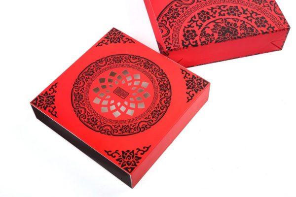Bộ túi & hộp giấy 4 bánh trung thu 125-250g mẫu họa tiết đỏ