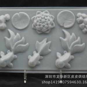 Khuôn thạch nhựa con cá và hoa sen
