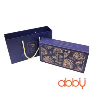 Bộ túi & hộp giấy 2 bánh trung thu 125-250g nhũ vàng mẫu hoa mẫu đơn