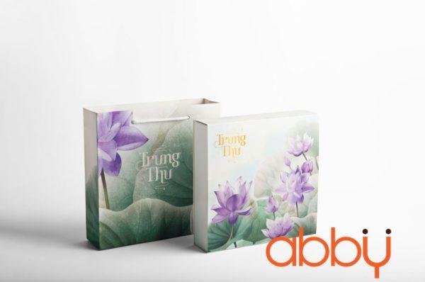 Bộ túi & hộp giấy 4 bánh trung thu 125-250g mẫu sen tím