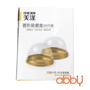 Hộp nhựa tròn XY68 đế vàng 7x5cm (50 chiếc)