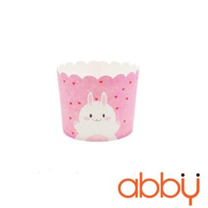 Cup giấy cứng 6x5cm mẫu thỏ happy (48 - 50 chiếc)