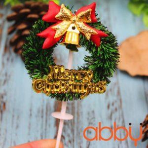 Que cắm vòng nguyệt quế Merry Christmas mẫu 1