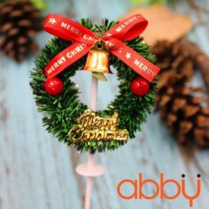 Que cắm vòng nguyệt quế Merry Christmas mẫu 2