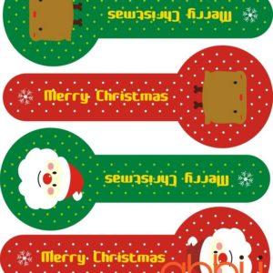 Hình dán dài chữ Merry Christmas (1 tờ 4 cái)