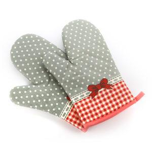 Găng tay chống nhiệt vải thô 28cm chấm bi xám (90g)